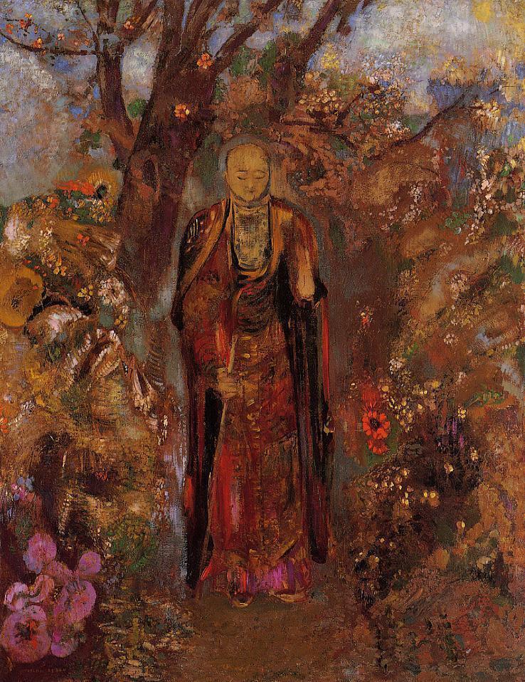 Buddah walking among the flowers